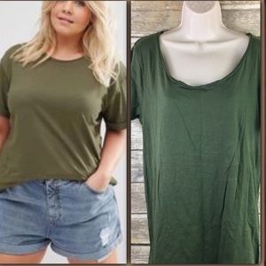 ASOS Simple Army Green Comfy Tee Shirt Size Small